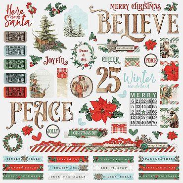 Материалы для творчества ручной работы. Ярмарка Мастеров - ручная работа Наклейки Country Christmas Cardstock Stickers 30х30 см. Handmade.