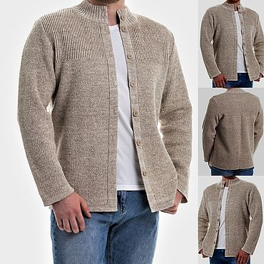 Clothing handmade. Livemaster - original item Knitted from linen yarn.Men`s jacket with buttons Classic. Handmade.