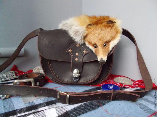 Женские сумки ручной работы. Ярмарка Мастеров - ручная работа. Купить Кожаная сумка с мехом лисы. Handmade. Мех, кожа