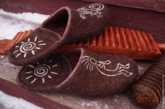 """Обувь ручной работы. Ярмарка Мастеров - ручная работа. Купить """"Пещерные..."""". Handmade. Коричневый, войлочная обувь, кожа натуральная"""