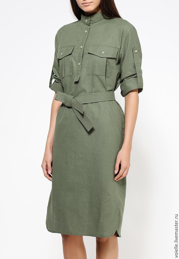 ab559fe26da31ba Зеленое льняное платье-рубашка в стиле милитари, летнее – купить в ...