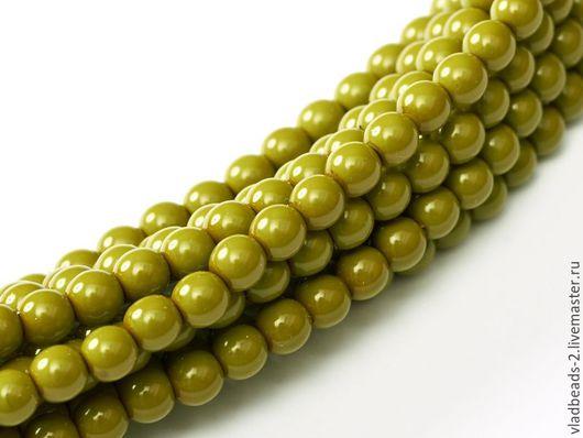 Для украшений ручной работы. Ярмарка Мастеров - ручная работа. Купить Бусины 4мм чешские стеклянные Pea Green. Handmade.