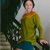 Одежда ручной работы. Ярмарка Мастеров - ручная работа Кофта-туника зелено-желтая. Handmade.
