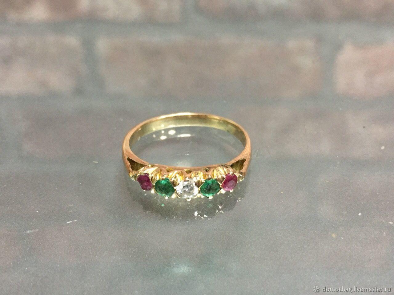 Золотое кольцо с бриллиантом,изумрудами,рубинами, Кольца, Москва,  Фото №1