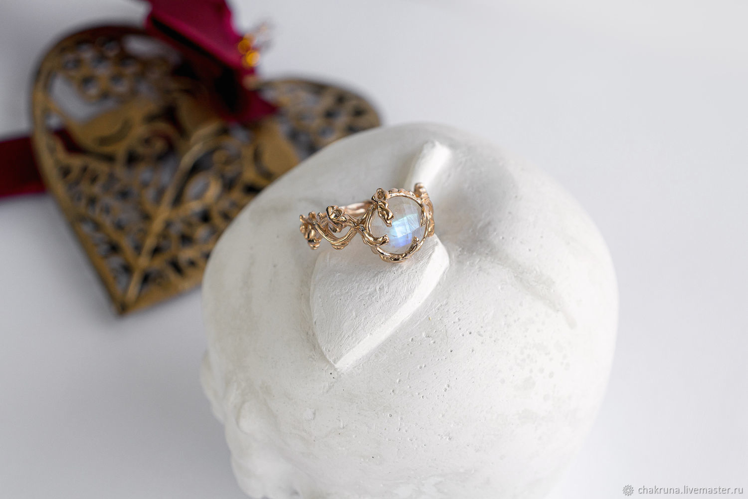 Unusual gold ring with a moonstone ' TENERE', Engagement ring, Moscow,  Фото №1