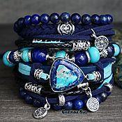 Украшения handmade. Livemaster - original item Blue bracelet on the hand boho style
