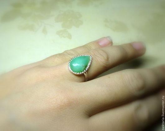 Кольца ручной работы. Ярмарка Мастеров - ручная работа. Купить Серебряное кольцо с яблочным хризопразом. Handmade. Мятный, яблочный хризопраз