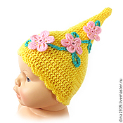 Работы для детей, handmade. Livemaster - original item Accessories for the first photo shoot: cap with flowers, yellow (2-4 months). Handmade.
