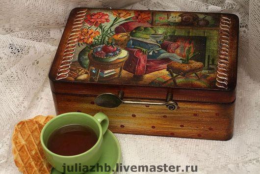 """Кухня ручной работы. Ярмарка Мастеров - ручная работа. Купить шКВАтулка чайная """"У КВАмина"""". Handmade. Шкатулка для чая, декупаж"""