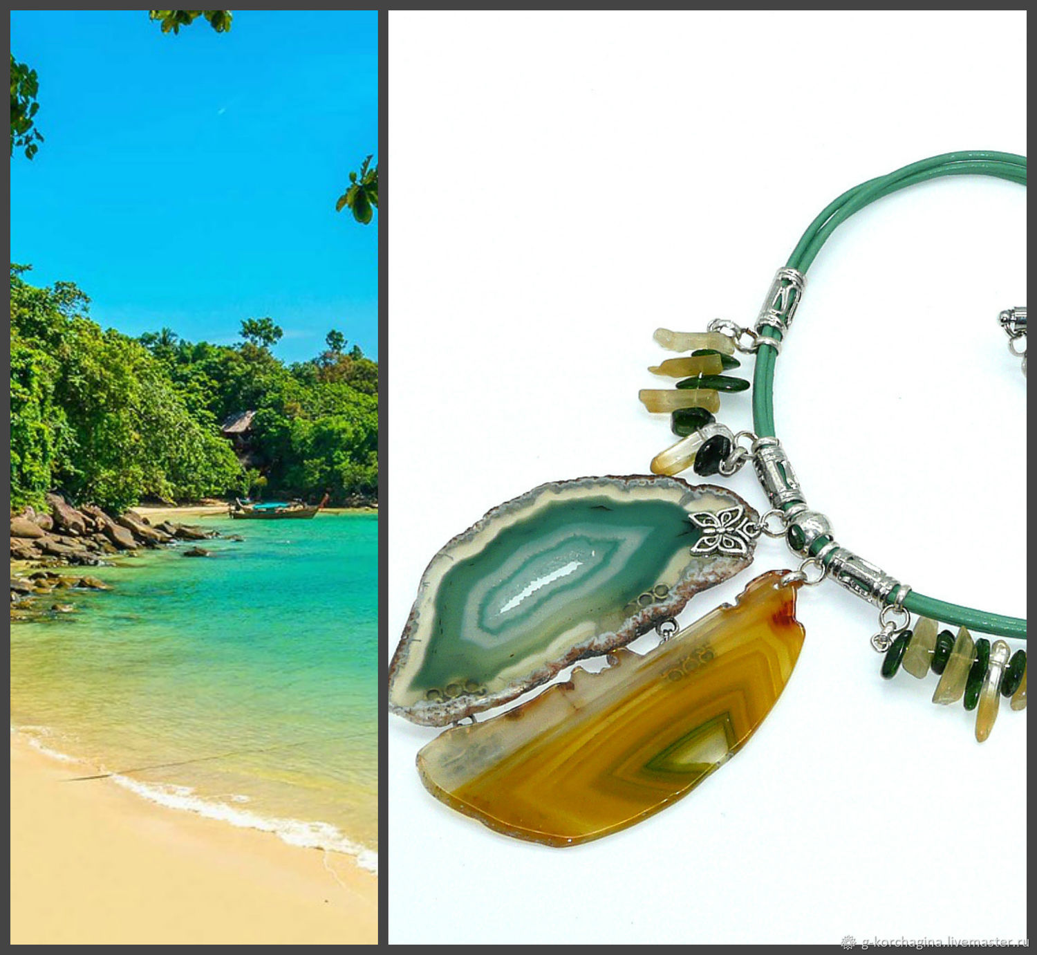 Chalker: ' Bali - island in the sun' with slices of agate, Chokers, Voronezh,  Фото №1