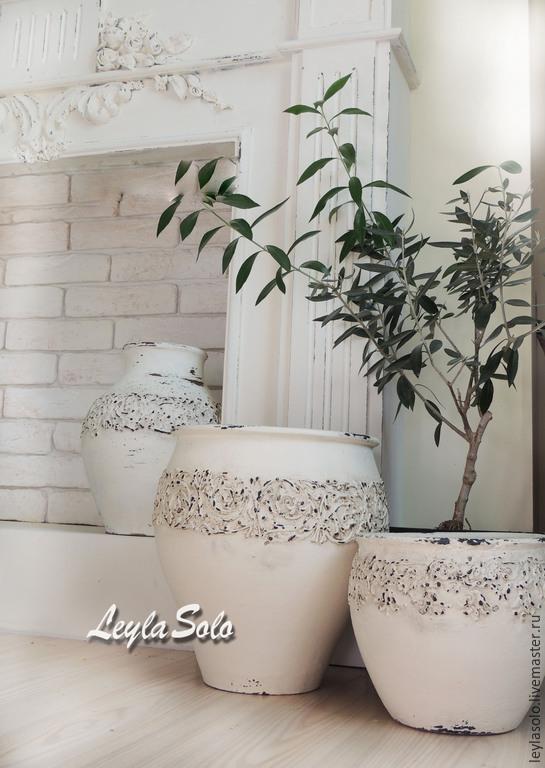 крынка ваза  напольная в стиле Шебби
