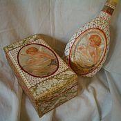 Сувениры и подарки ручной работы. Ярмарка Мастеров - ручная работа ШКАТУЛОЧКА  КРЕЩЕНИЕ и ПОДСВЕЧНИК (пустая бутылочка). Handmade.
