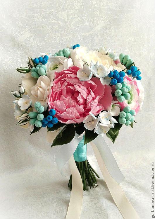 Красивый свадебный букет невесты из полимерной глины.