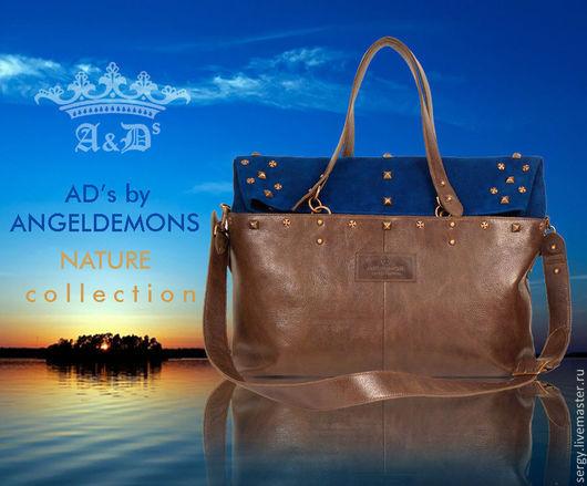 Женские сумки ручной работы. Ярмарка Мастеров - ручная работа. Купить Сумка Copper Blue-brown. Handmade. Тёмно-синий