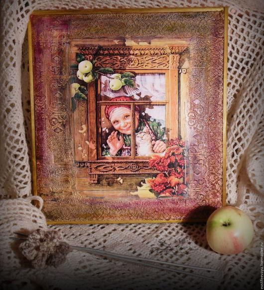 Люди, ручной работы. Ярмарка Мастеров - ручная работа. Купить Картина- арт Рельефная ' Любимая Бабушка'. Handmade. Бордовый