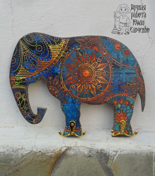 Прихожая ручной работы. Ярмарка Мастеров - ручная работа. Купить Синий слон счастья и удачи.. Handmade. Слон, Ключница декупаж