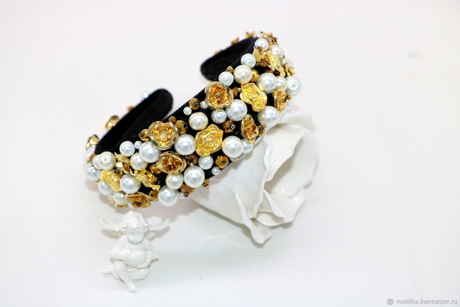 Headband with roses and pearls in the style of Dolce & Gabbana, Headband, Moscow,  Фото №1