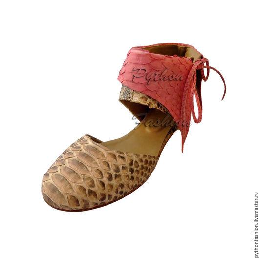 Балетки из питона. Необычные балетки из питона. Женская обувь из кожи питона.  Дизайнерские балетки из питона. Красивые балетки из кожи питона. Оригинальные балетки из питона. Летние туфли из питона.
