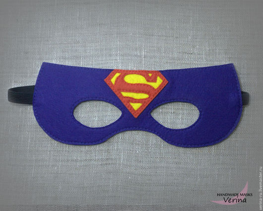 Игровые маски для детей и взрослых из фетра ручной работы. Маска супермена из фетра. Маски для вечеринки. Супермен