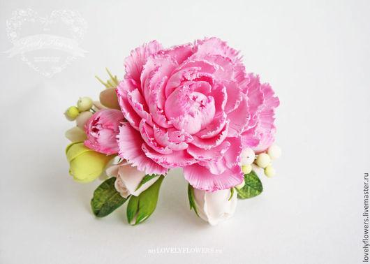 Свадебные украшения ручной работы. Ярмарка Мастеров - ручная работа. Купить Браслет с пионом и розами из полимерной глины. Handmade.