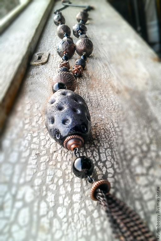 """Колье, бусы ручной работы. Ярмарка Мастеров - ручная работа. Купить Ожерелье с подвеской """"Металл родится из руды"""". Handmade. Черный"""
