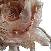 """Украшения ручной работы. Ярмарка Мастеров - ручная работа Брошь цветок  роза из ткани """"Сливочная роза"""". Handmade."""
