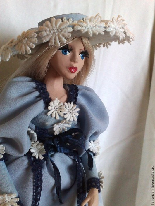 Коллекционные куклы ручной работы. Ярмарка Мастеров - ручная работа. Купить Эйприл. Handmade. Голубой, проволочный каркас, полимерная глина