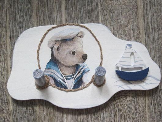 Детская ручной работы. Ярмарка Мастеров - ручная работа. Купить Вешалка для детской комнаты «Морячок». Handmade. Зеркало настенное
