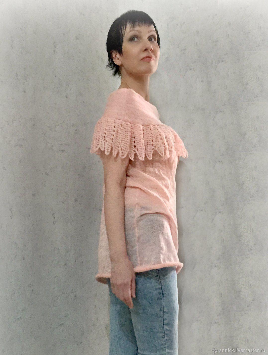 Вязаная розовая блуза-туника, Блузки, Москва, Фото №1