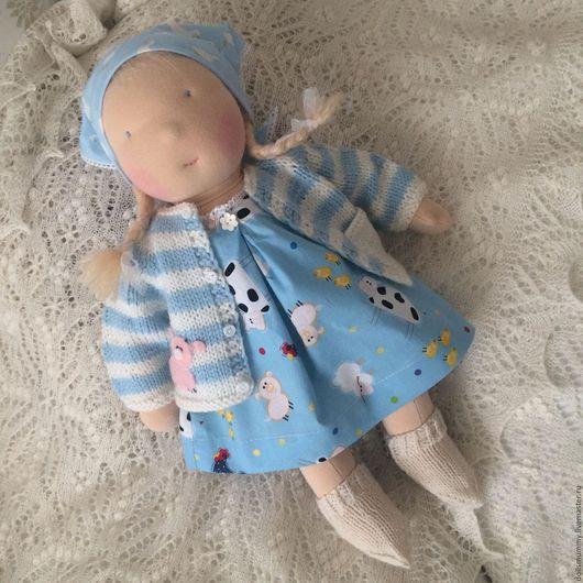Вальдорфская игрушка ручной работы. Ярмарка Мастеров - ручная работа. Купить Вальдорфская кукла - девочка. Handmade. Голубой, хлопок