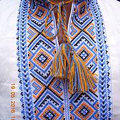 Одежда ручной работы. Ярмарка Мастеров - ручная работа Традиционная  славянская льняная вышиванка из Карпат желто-голубая. Handmade.