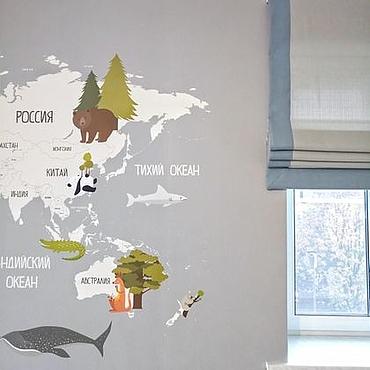 Для дома и интерьера ручной работы. Ярмарка Мастеров - ручная работа Серая римская штора с голубым кантом. Handmade.