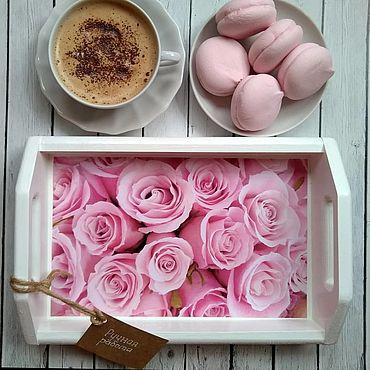 Посуда. Ярмарка Мастеров - ручная работа Поднос для завтрака Розовые розы  30х20х7см. Handmade.