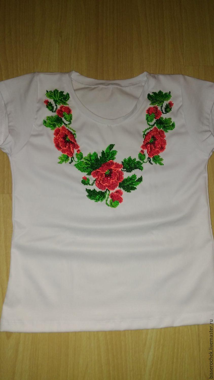 Белая футболка бисером Маки, Футболки, Полтава,  Фото №1