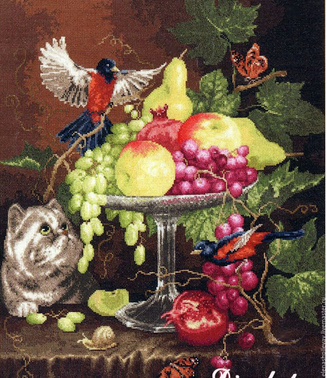 Вышивка картин фруктов