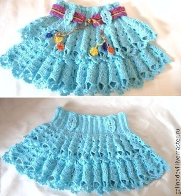 Вязаные юбки для девочки с воланами