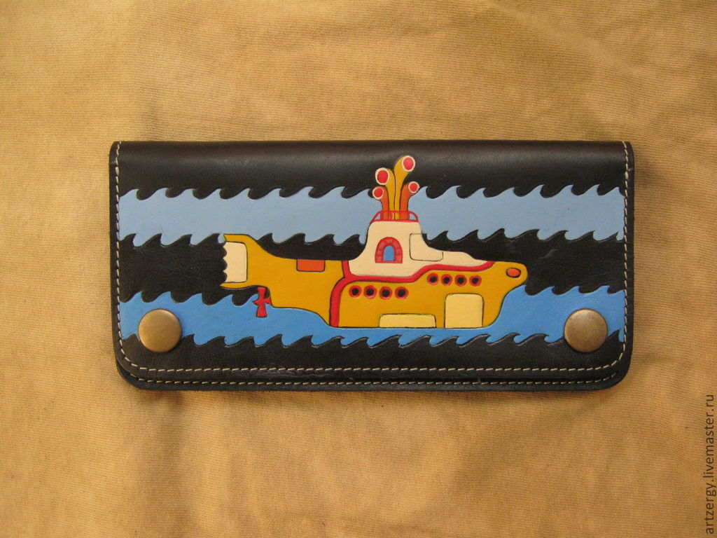purse leather 'Yellow submarine', Wallets, Moscow,  Фото №1