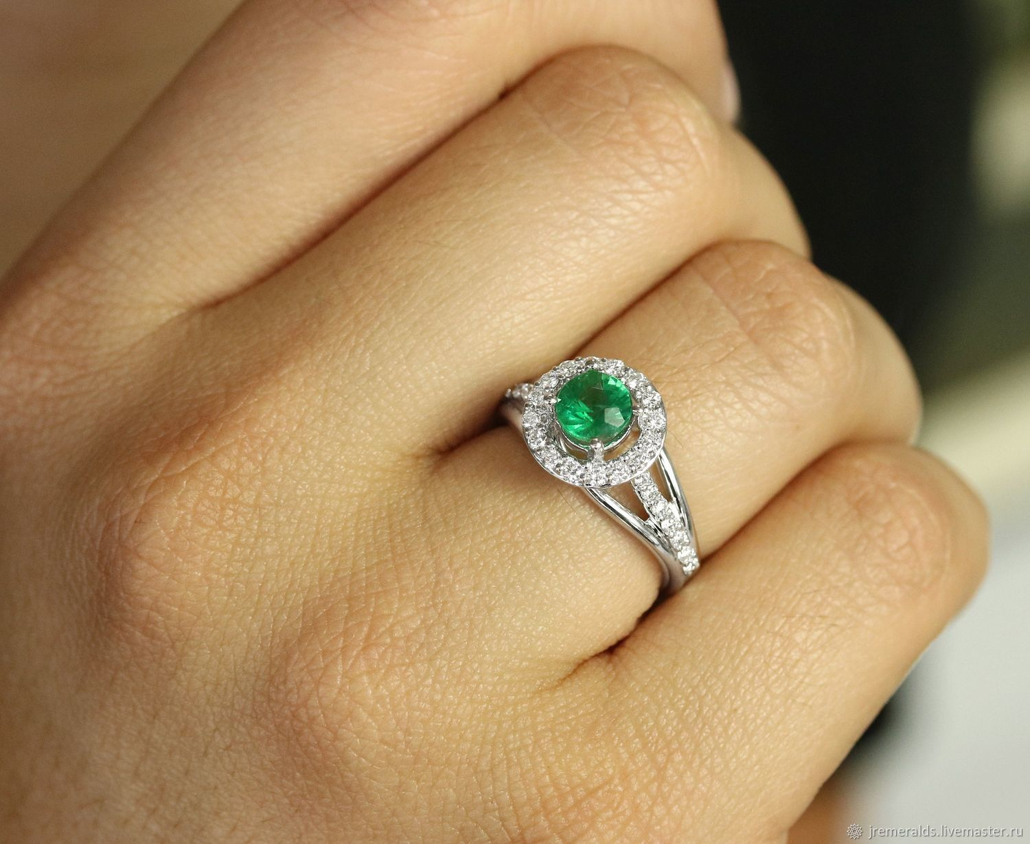 Emerald Engagement Ring, Gold Split Shank Ring, Anniversary Ring May B, Rings, West Palm Beach,  Фото №1