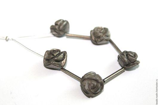 Для украшений ручной работы. Ярмарка Мастеров - ручная работа. Купить Пирит, резные розы 12мм. Handmade. Хаки