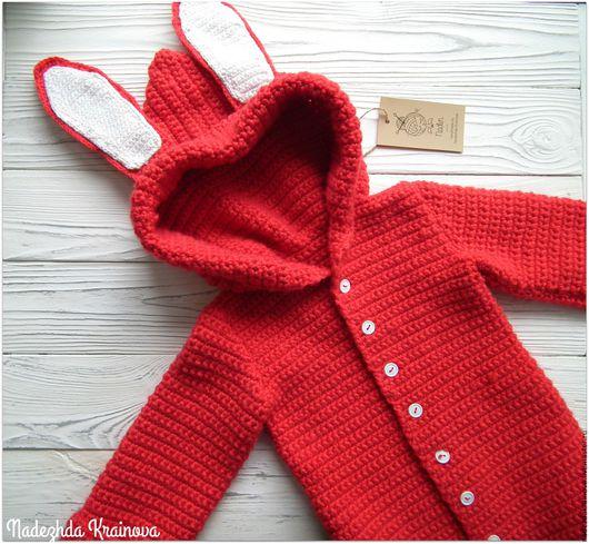 Одежда для девочек, ручной работы. Ярмарка Мастеров - ручная работа. Купить Жакет-зайка. Handmade. Ярко-красный, ручная работа