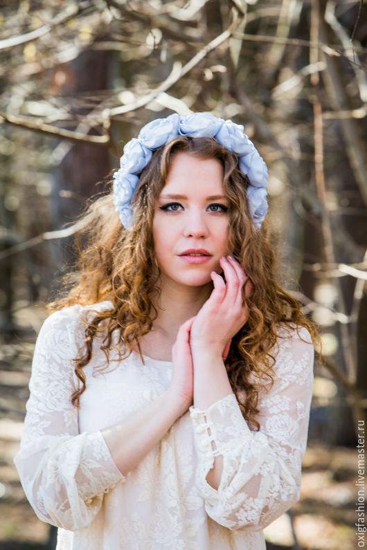 Диадемы, обручи ручной работы. Ярмарка Мастеров - ручная работа. Купить Нежный ободок на голову с голубыми розами. Handmade. Голубой