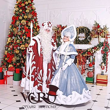 Одежда ручной работы. Ярмарка Мастеров - ручная работа Костюм Деда мороза и снегурочки красно-голубой. Handmade.
