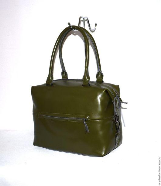 зеленая женская кожаная сумка их натуральной кожи саквояж  интернет магазин кожаных сумок сумка с длинными ручками сумочка
