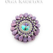 Украшения handmade. Livemaster - original item bulk brooch c zinia pearls and swarovski crystal. Handmade.