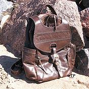 "Сумки и аксессуары handmade. Livemaster - original item Men`s western leather backpack ""Singing Yippie Aye"". Handmade."