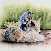 Картины и панно handmade. Livemaster - original item Fox family. Handmade.