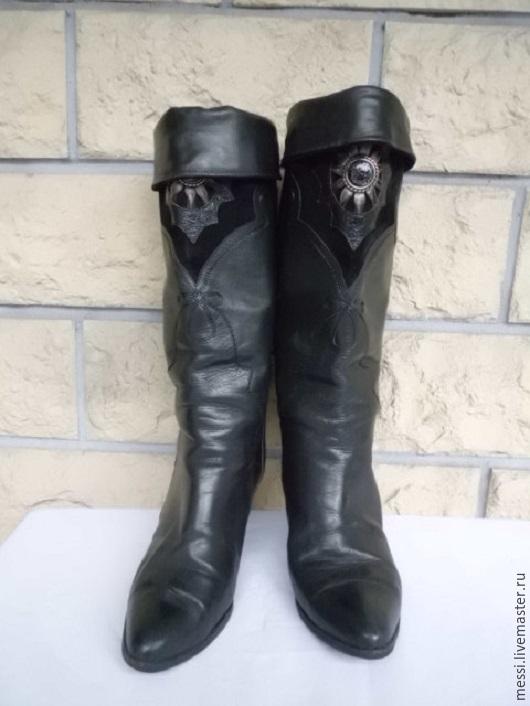 Винтажная обувь. Ярмарка Мастеров - ручная работа. Купить Винтажные итальянские демисезонные сапоги, кожа, р.37. Handmade. Черный