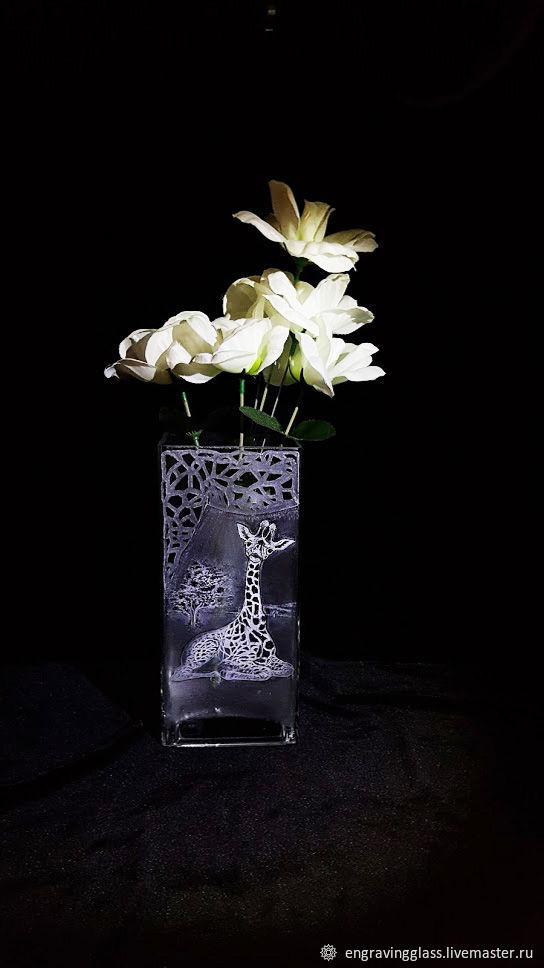 Ваза Жирафик гравировка стекла