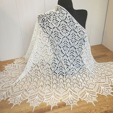 Accessories handmade. Livemaster - original item Shawl openwork white acacia.. Handmade.