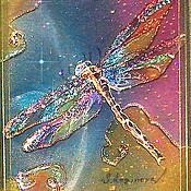 Картины и панно ручной работы. Ярмарка Мастеров - ручная работа Картина трехслойная на шелке Бриллиантовая стрекоза. Handmade.